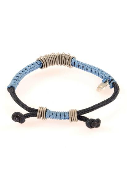 Wood'd Bracelet Braided with Blue Cord