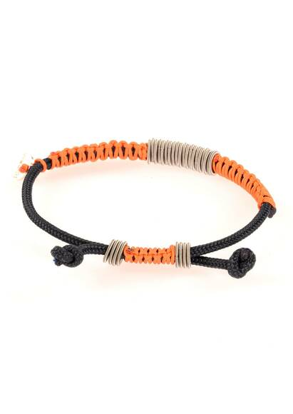 Wood'd Bracelet Braided with Orange Cord