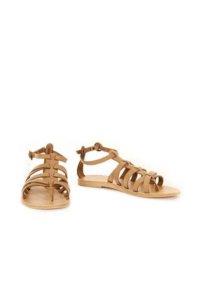 Valia Gabriel Black Cave Leather Sandals Khaki Beige