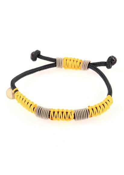 Wood'd Bracelet Braided with Yellow Cord