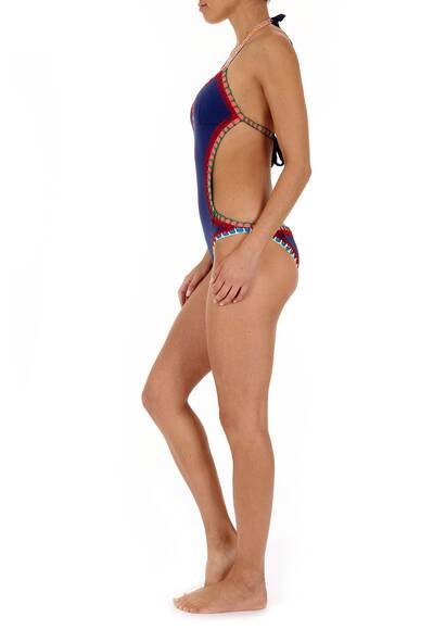 Kiini Swimwear Swimsuit Tasmin with Cut-Outs and Multicolored Crochet Trimming in Navy