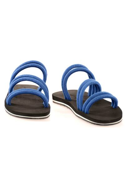 Dan Ward Sandals with Blue Linen Cord and Dark Brown Soles