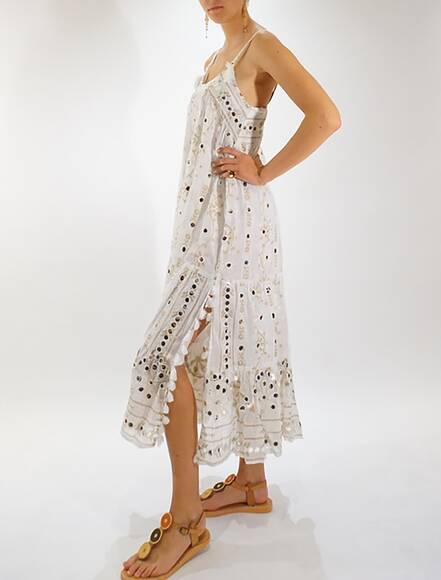 Juliet Dunn Maxi Boho Dress with Tribal Print