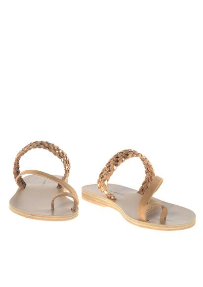 Valia Gabriel Nanou Leather Sandals Tan/Rose Metal