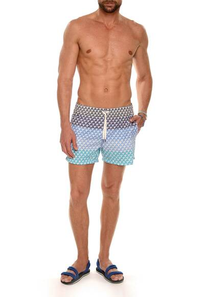 Dan Ward Swim Shorts Nylon, Blue-Tone Print