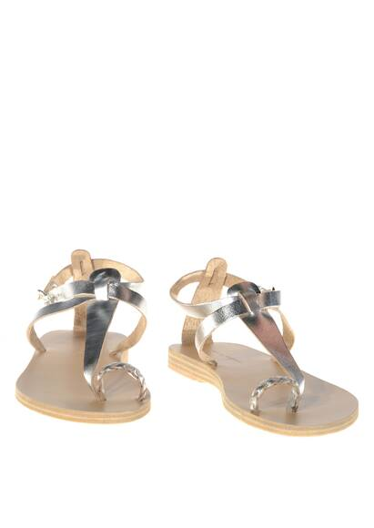 Valia Gabriel Lorient Leather Sandals Silver/Metallic Effect