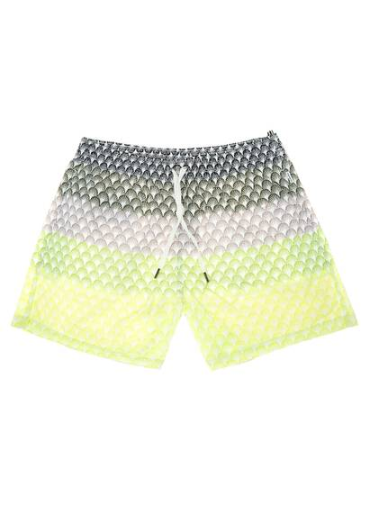 Dan Ward Nylon Swim Shorts, Green and Yellow Multi-Colour Print
