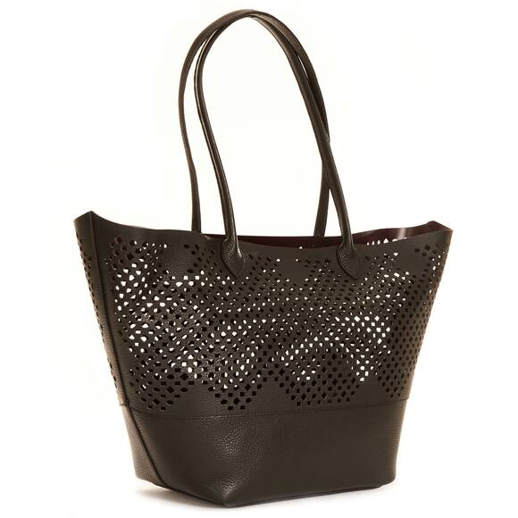 Sophie Anderson Beach Bag Charo Tote, Black with Lasercutting Details