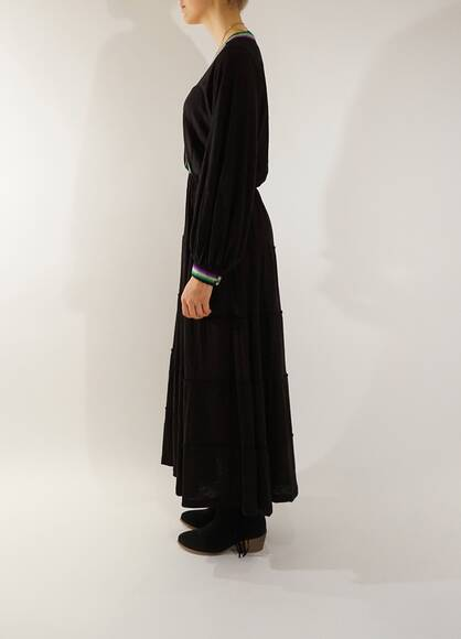 Pitusa Boho Dress in black with long sleeves