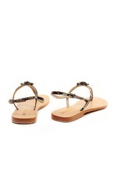 Mystique Sandal with Black Swarovski Stones Natural/Hem