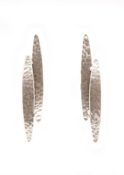 Silver Koyo Earrings, dipped in a Silver bath, Silver