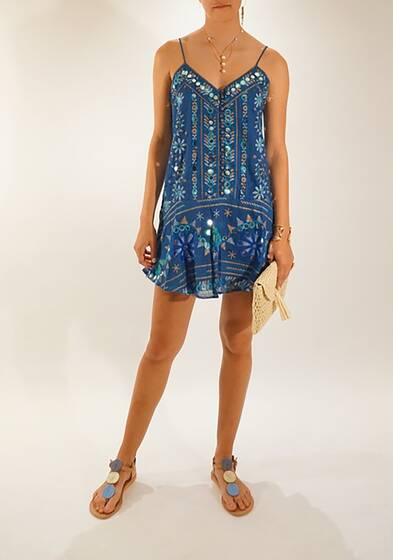 Slip Dress with Cotton Tribal Print