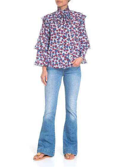 Blouse with Floral Print in blue