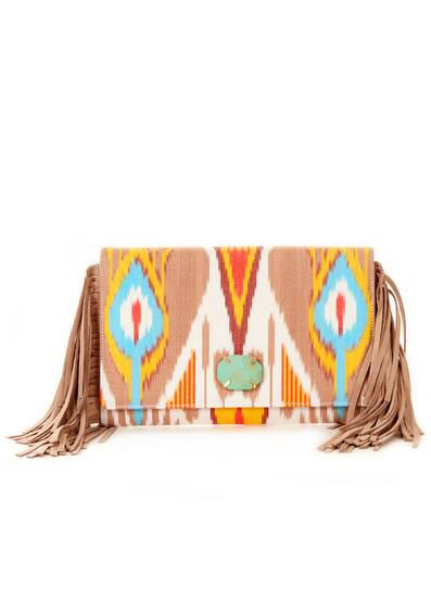 Clutch Hand-Weaved with Leather Fringes