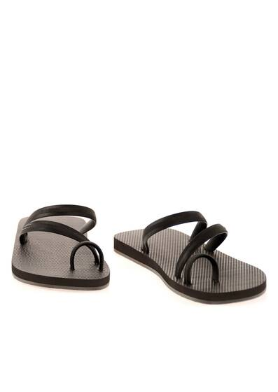 Flip Flops with Black Straps and Dark Brown Rubber Soles