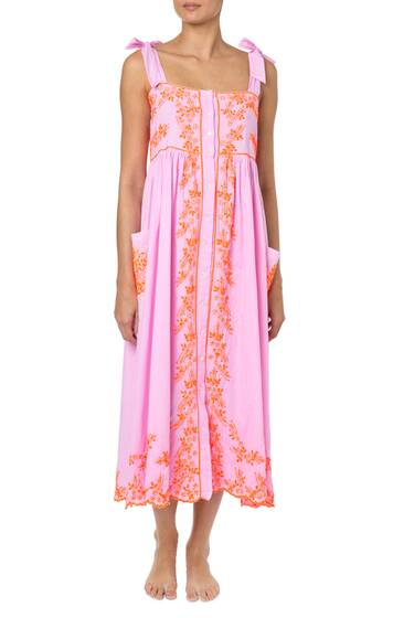 Tied-shoulder mirror-embroidered cotton midi dress