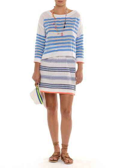 Zare Smock Shirt, Cotton-Blend Gauze, Striped White/Blue