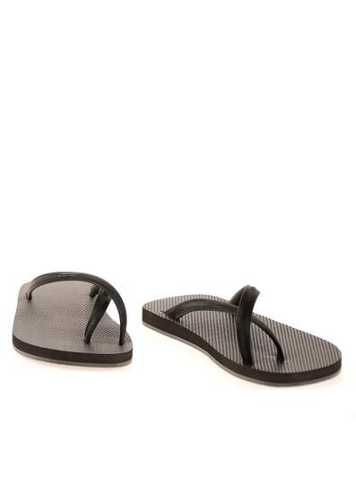 Flip Flops, Black Straps and Dark Brown Rubber Soles