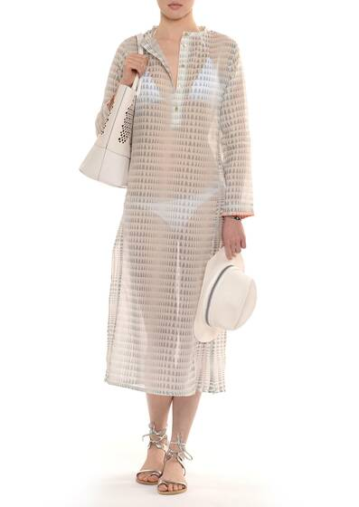 Maxi Dress Caftan Long-sleeve in Cotton Grey/White
