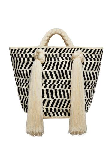 Tasseled Eve Tote, cream/black