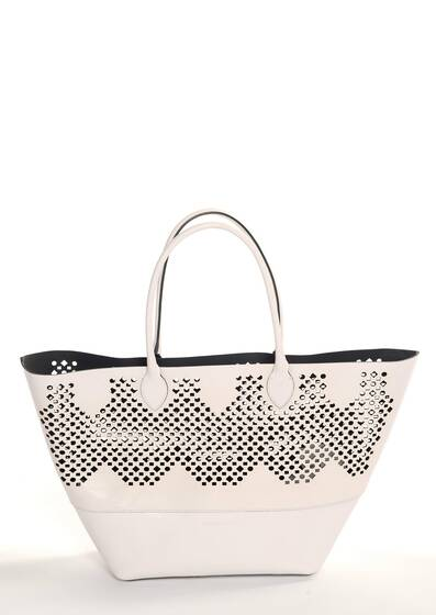 Charo White Shoulder Bag, leather with laser-cut details