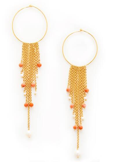 Earrings , gold/red/white