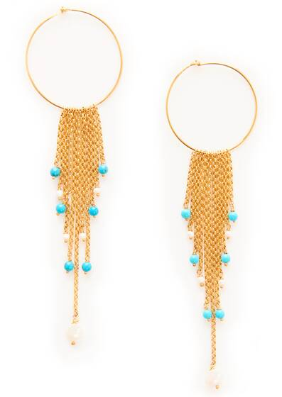 Earrings, gold/turqoise/white