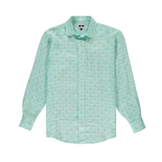 Abaco Linen Shirt, Elephant Dance Mint