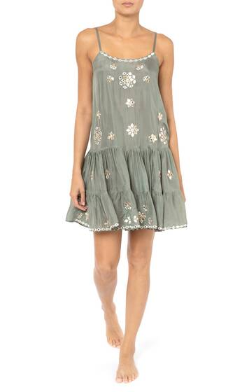 Mirror-work floral-embroidered silk mini dress