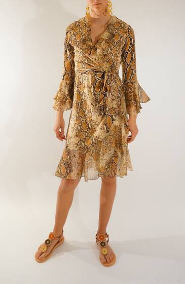 Wrapdress printed in Python Silk Chiffon