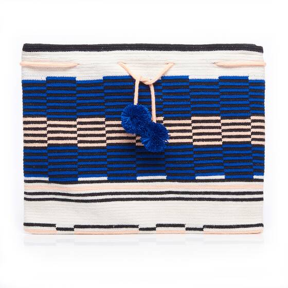 Blue Lia Clutch with Zip Top
