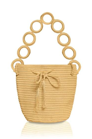 Mini Nylon Bucket Bag, gold