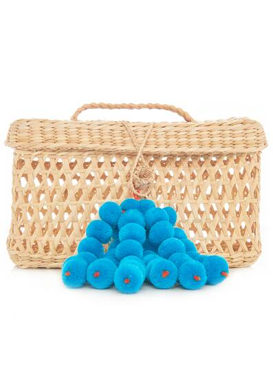Maka Pompom Clutch Bag, blue