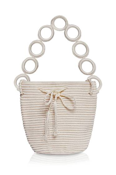 Mini Nylon Bucket Bag, Pearl