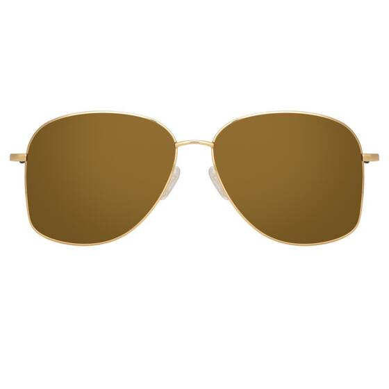 Aviator Sonnebrille 199 in Gelbgold-Ton - Dries van Noten x Linda Farrow