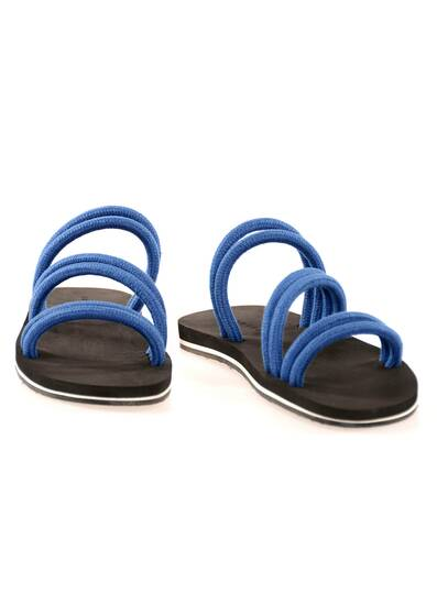 Sandals with Blue Linen Cord and Dark Brown Soles