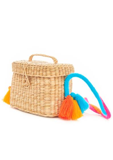 Straw Bag Roge with small coloured Braid Strap, colorful