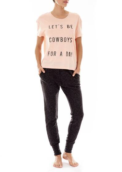 T-Shirt with short sleeves in apricot 'Let's Be Cowboys For A Day'
