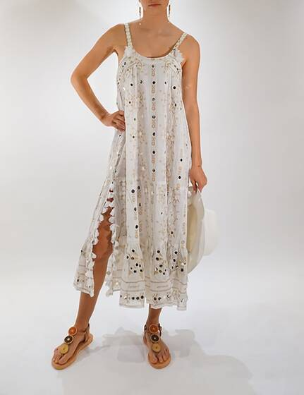 Maxi Boho Dress with Tribal Print