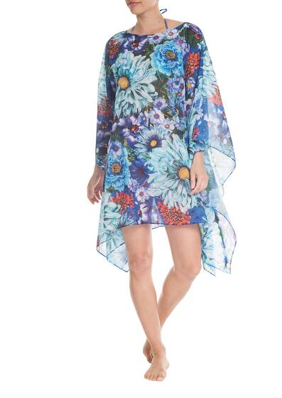 Beach Poncho 'Paint by Numbers', turquoise