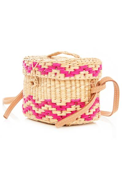 Kiki Small Pali Strap Straw Bag, pink