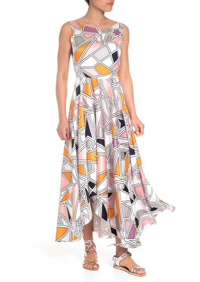 Big Scale Geometric Printed Asymmetric Kleid