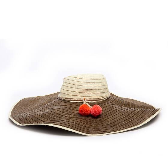 Corozon Straw Hat Pom Pom Embellished