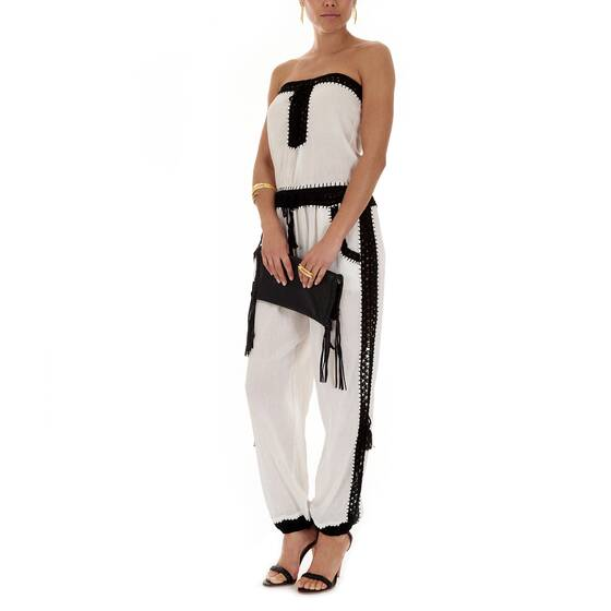 Jumpsuit White with Black Crochet Details