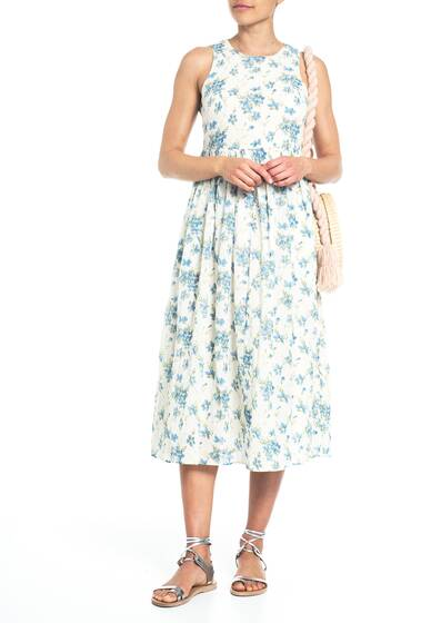 The Linden Dress, white/blue