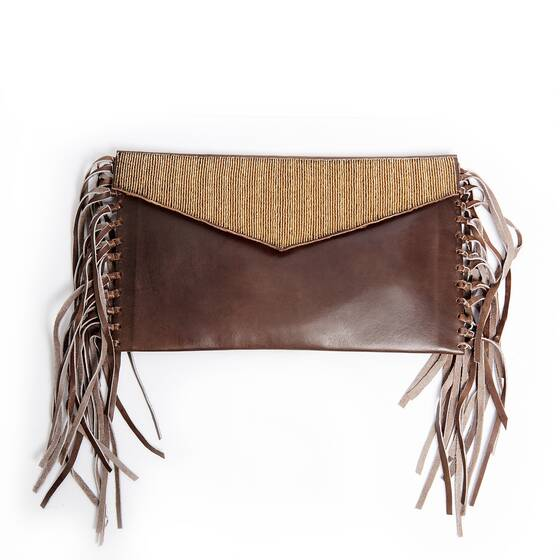 Clutch in Brown Leather