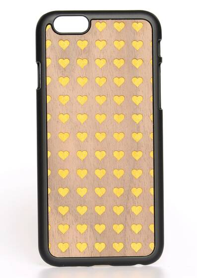 iPhone 6-Hülle aus Holz Heart Yellow