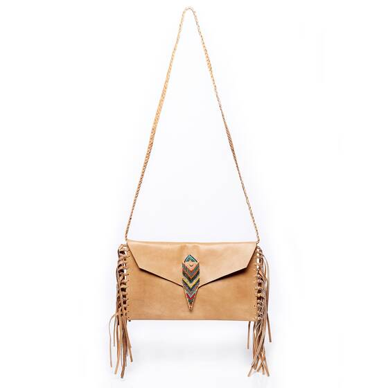 Clutch in Light Brown Leather