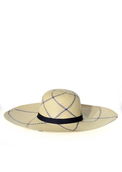 "Sun Hat PLAYA 6""wide-brimmed, navy"