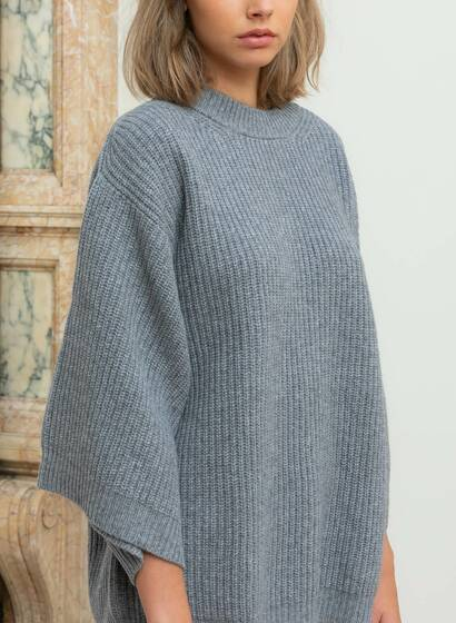 Cashmere Fisherman Jumper, charcoal